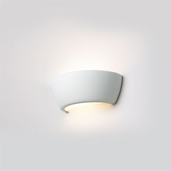 Wall lamp half round with glass bottom